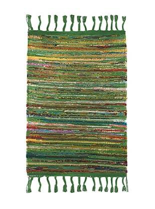 SIGNES DECORA Alfombra Rayas Verde 55X85