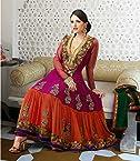 Pink & Orange Georgette with Resham,Zari,Lace Work Unstitched Anarkali Salwar Kameez Suit