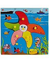Skillofun Wooden Theme Puzzle Standard Star Fish Knobs, Multi Color
