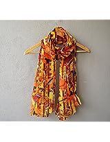 Madhurima Bhattacharjee Orange Printed Scarf