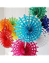 My Party Suppliers Tissue Paper Fan Decorations / Snowflake Tissue Paper fan decoration - Yellow (Set of 3)