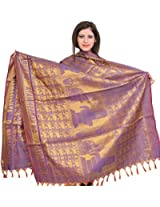 Exotic India Golden-Violet (OM NAMASHIVAYA) Brocaded Shawl from Tamil N - Purple