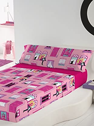 Euromoda Juego De Sábanas Barbie Mansion (Rosa / Fucsia)