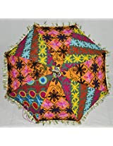 Lalhaveli Traditional Indian Umbrella Graced With Embroidery Work Cotton Parasol 24 X 28