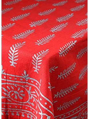 Mela Artisans Silver Speckle Paisley Tablecloth, Red