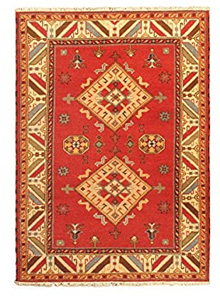Hand-Knotted Royal Kazak Rug, Cream/Red, 4' 9