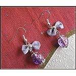 [E17B_004] Purple Bow Earrings 03