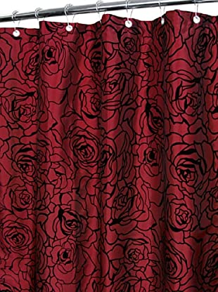 Park B. Smith Cabbage Rose Shower Curtain (Brick/Black)