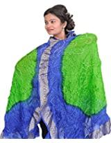Exotic India Tie-Dye Bandhani Dupatta From Gujarat - Color Green And BlueColor Free Size