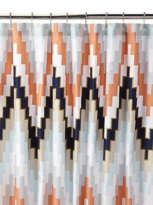 Blissliving Home Harper Shower Curtain, Navy Blue/Chevron