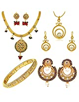 Surat Diamonds Traditional Round Shaped Set, Trendy Freshwater Pearl Pendant Set, Dangling Chandbali Earrings & Gold Plated Kada Hamper for Women (H1428)