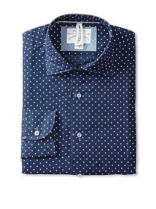 Orian Men's Printed Dot Dress Shirt (Blue)