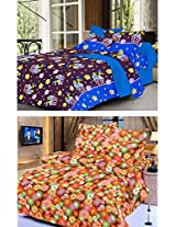 Nature Made Pack of 2 Orange & Violet Printed Double Bed Sheets 250 TC