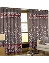 Comfy Floral Door Curtains -Red