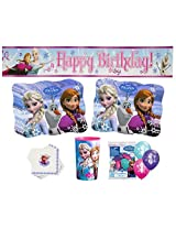 Deluxe Frozen Party Supplies- Happy Birthday Banner, Anna & Elsa Balloons, Napkins, Place Mats and B
