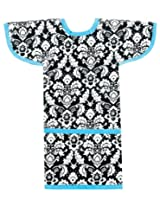 AM PM Kids! Sleeved Toddler Laminated Bib, Damask with Turquoise