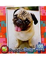 Puzzle Bug 100 Piece Puzzle ~ Happy Pug Puppy