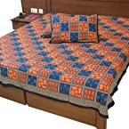 Little India Jaipuri Bagru Print Cotton Double Bed Sheet Designer Bed Spread - DLI3DBS335