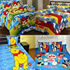 Handloomdaddy 100% Cotton Pack Of 4 Cartoon Design Double Bedsheet With 8 Pillow Covers