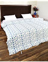 Exclusive Hand Block Printed Cotton Duvet Cover Double White Floral By Rajrang