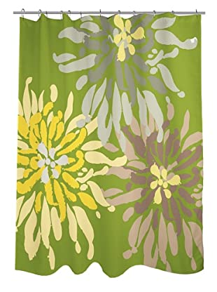 One Bella Casa Lowell Flower Shower Curtain, Green Naturals