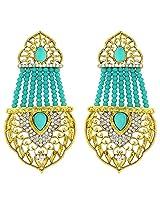 Green Moti Traditional Dangler Earrings