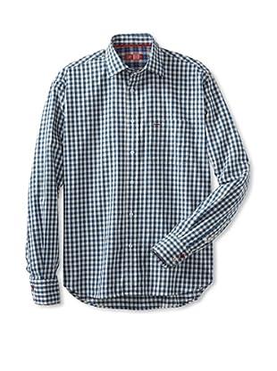 Rufus Men's Casual Woven Shirt (Blue Plaid)