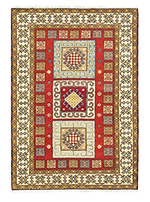 Hand-Knotted Royal Kazak Rug, Cream/Red, 4' 8