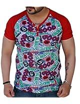 Black Collection Men's V-Neck Cotton T-Shirt (Red_Large)