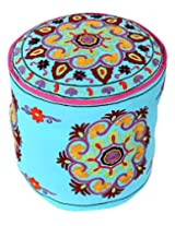 Elite Round Turquoise Ottoman Cotton Floral Embroidered Pouf Cover Living Room By Rajrang