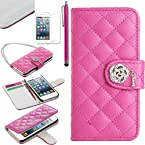 Pandamimi ULAK(TM) Luxury Fashion Handbag Metal Chain Style PU Leather Wallet Case Folio Cover Credit Card Slot Holder for Apple iPod Touch 5th Generation with Screen Protector and Stylus (Rose Pink--Rhombus)