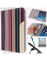 LYSTOCK iPad Air Case, Retro Stripe Multi-color PU Leather Handle Case, with Kickstand Protective Sleeve Case Cover for Apple iPad Air /ipad 5 (#2)