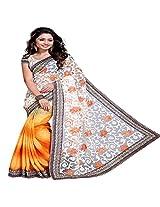 Ari Fashion Net Saree (022_Yellow White)