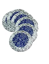 AsiaCraft Blue & Silver Décor Indian Handmade Beaded Coffee, Tea Coaster 4.2 Inches Set of 6