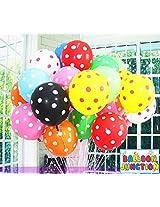 BALLOON JUNCTION POLKA Dot MultiColor Balloons - Pack of 50