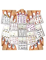 Elegant Water Slide Tattoo Stickers For Nail Art - Abstract Hearts Flowers Bows Feathers And More - Pack Of 11