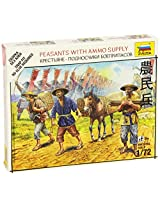 Zvezda Models Peasants with Ammo Supply SnapKit