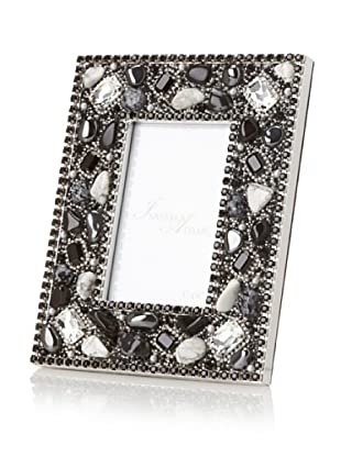 Isabella Adams Gemstone and Swarovski Crystal Picture Frame, Black/White, 4