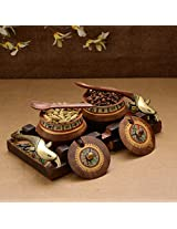 Wooden Handpainted Handi Set with Tray & Spoons