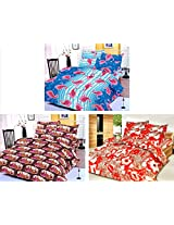 Nature Made Pack of 3 Red & Blue & Brown Printed Double Bed Sheets 250 TC