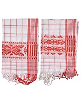 Mala's Collection Adult Assamese Traditional Gamocha (Pack of 2, Medium, Multi-Coloured)
