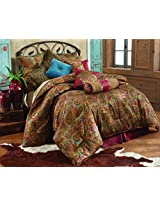 HiEnd Accents San Angelo Comforter Set with Red Bedskirt, King