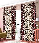 Christy's Maroon N Cream Printed Eyelet Door Curtains (Set of 2)- 7 Ft