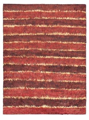 Rabat Long Hair Modern Rug, Dark Red, 4' 10