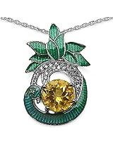Enamelour Citrine Silver Pendant