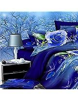 4pcs Suit Polyester Fiber 3D Blue Rose Flower Reactive Dyeing Bedding Set Queen King Size