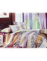 MARCOPOLO 100% COTTON ABSTRACT BEDSHEET WITH PILLOW COVERS, KING SIZE