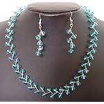 Kalakrita - ZigZag Blue Glass Necklace Set