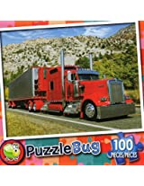 Puzzle Bug 100 Piece Puzzle ~ Big Red Rig