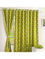 Swayam Printed Blackout Window Curtain With Eyelets - Green - Diamond